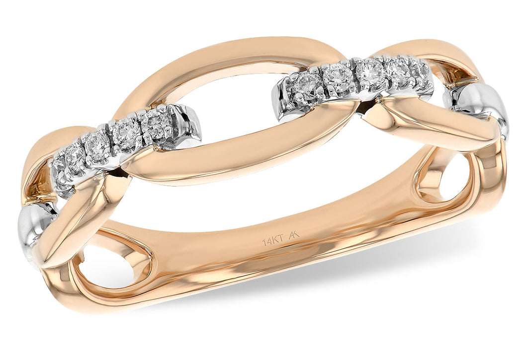 14k Rose Gold & Diamond Link Ring