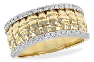 14k Yellow Gold Weave & Diamond Ring
