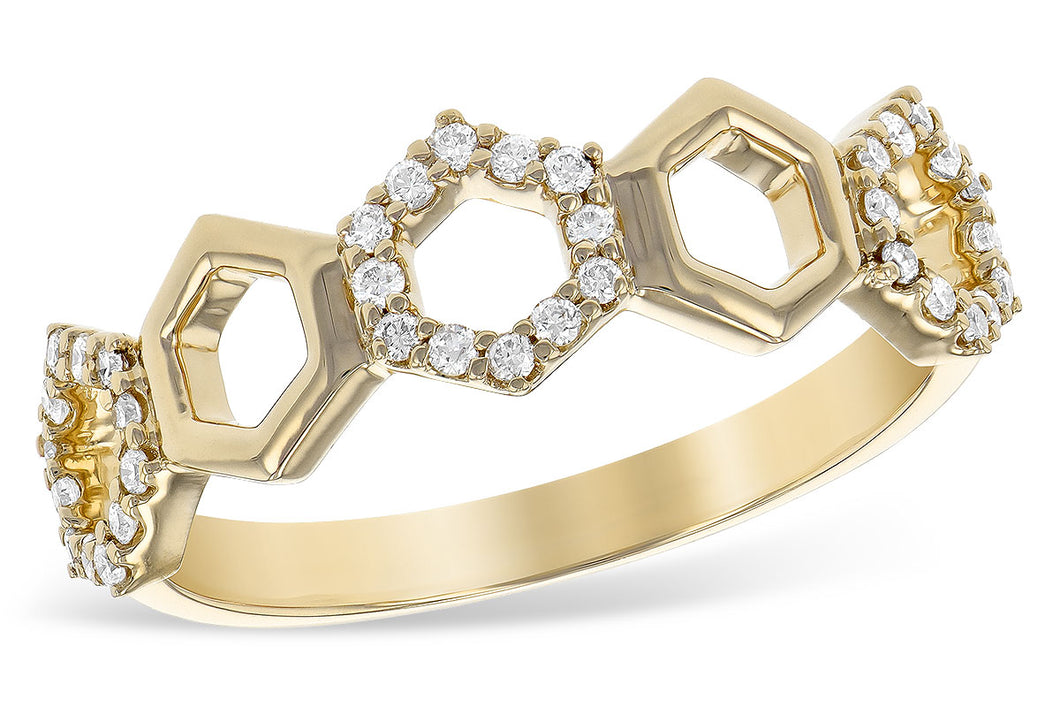 14k Yellow Gold & Diamond Hexagon Ring