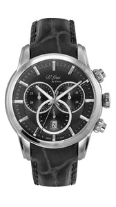 Gents Black Leather Chronograph Watch