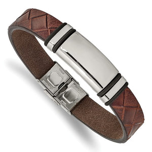 Brown Faux Leather Magnetic Bracelet