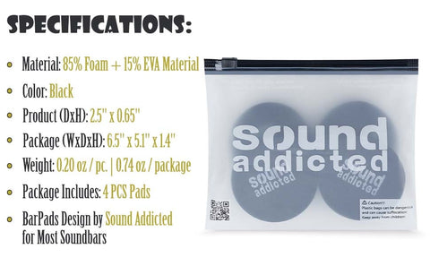 Specifications BarPads Round Isolation Pads for soundbars