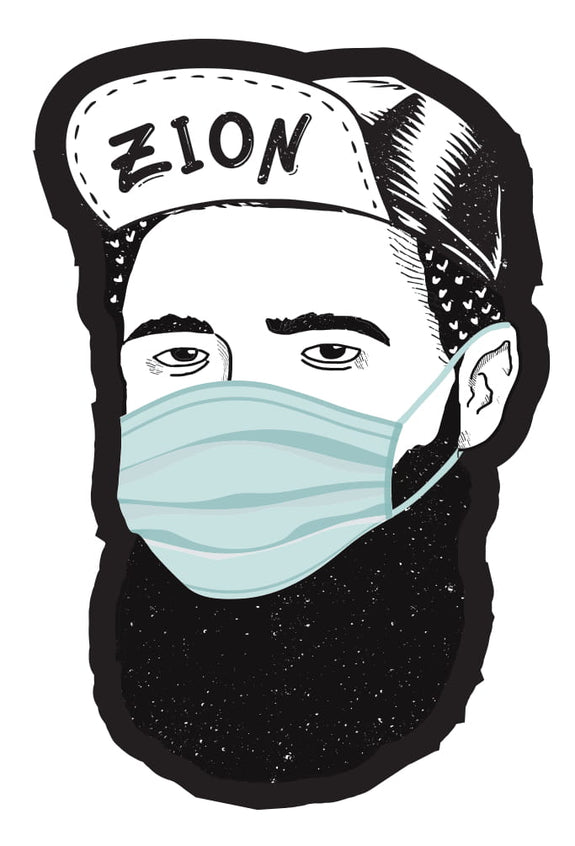 Herzl as hipster with mask