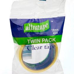 18MM X 40MTR 2 PACK CLEAR TAPE