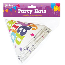 10 PACK HAPPY BIRTHDAY PARTY HATS