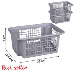 36X26X16CM GREY PLASTIC STACKABLE BASKET