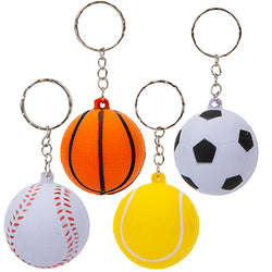 4 ASST. 4CM PU SPORTS BALL KEYCHAIN