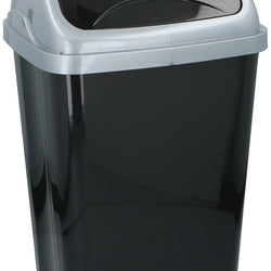 26LTR BLACK PLASTIC SWING TOP BIN