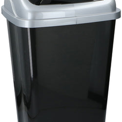50LTR BLACK PLASTIC SWING TOP BIN