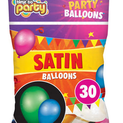 30 PACK SATIN PARTY BALLOONS