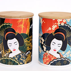13CM X 9.5CM GEISHA WOOD TOP CANNISTER