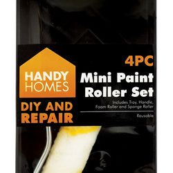 4 PCE MINI PAINT ROLLERS AND TRAY SET