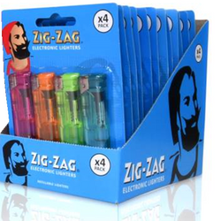 4 PACK ZIG ZAG ELECTRONIC LIGHTERS