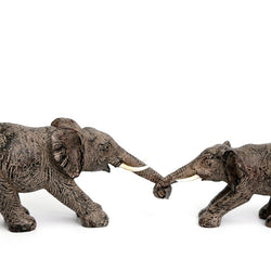 SET OF 2 ELEPHANTS HOLDING TRUNKS