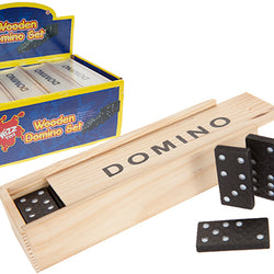 BOX OF 28 WOOD DOMINOES