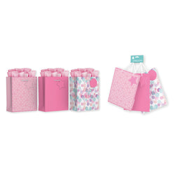 3 PACK MEDIUM PINK FEMALE GIFT BAGS