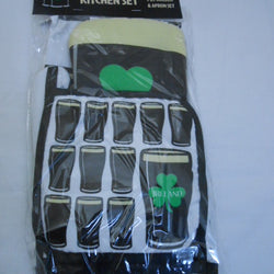 IRISH STOUT OVEN MITT/POT HOLDER AND APRON SET