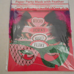 4 PACK ASST.HEN NIGHT MASKS WITH FEATHERS
