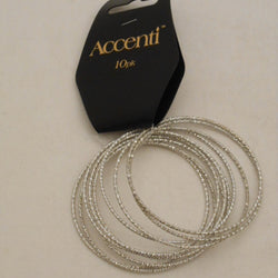 10 PACK SILVER BANGLES
