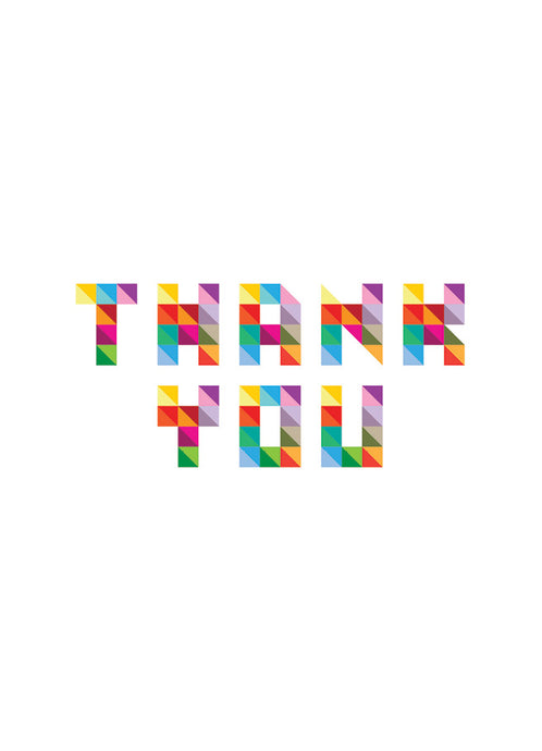 Thank You Greeting Card Colourful Geometric Design