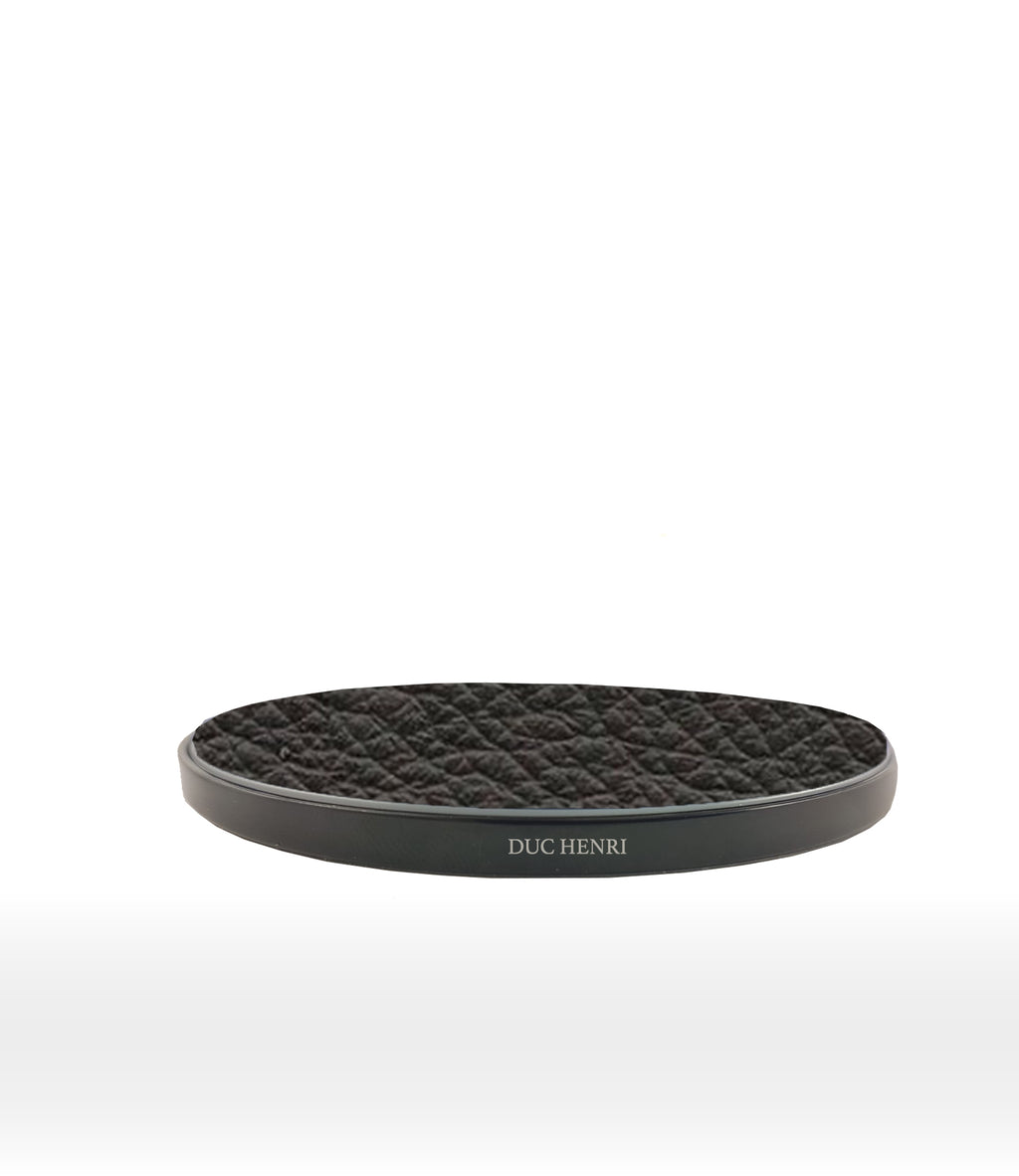 Black Calf leather custom wireless charger for smartphone duc henri hadoro