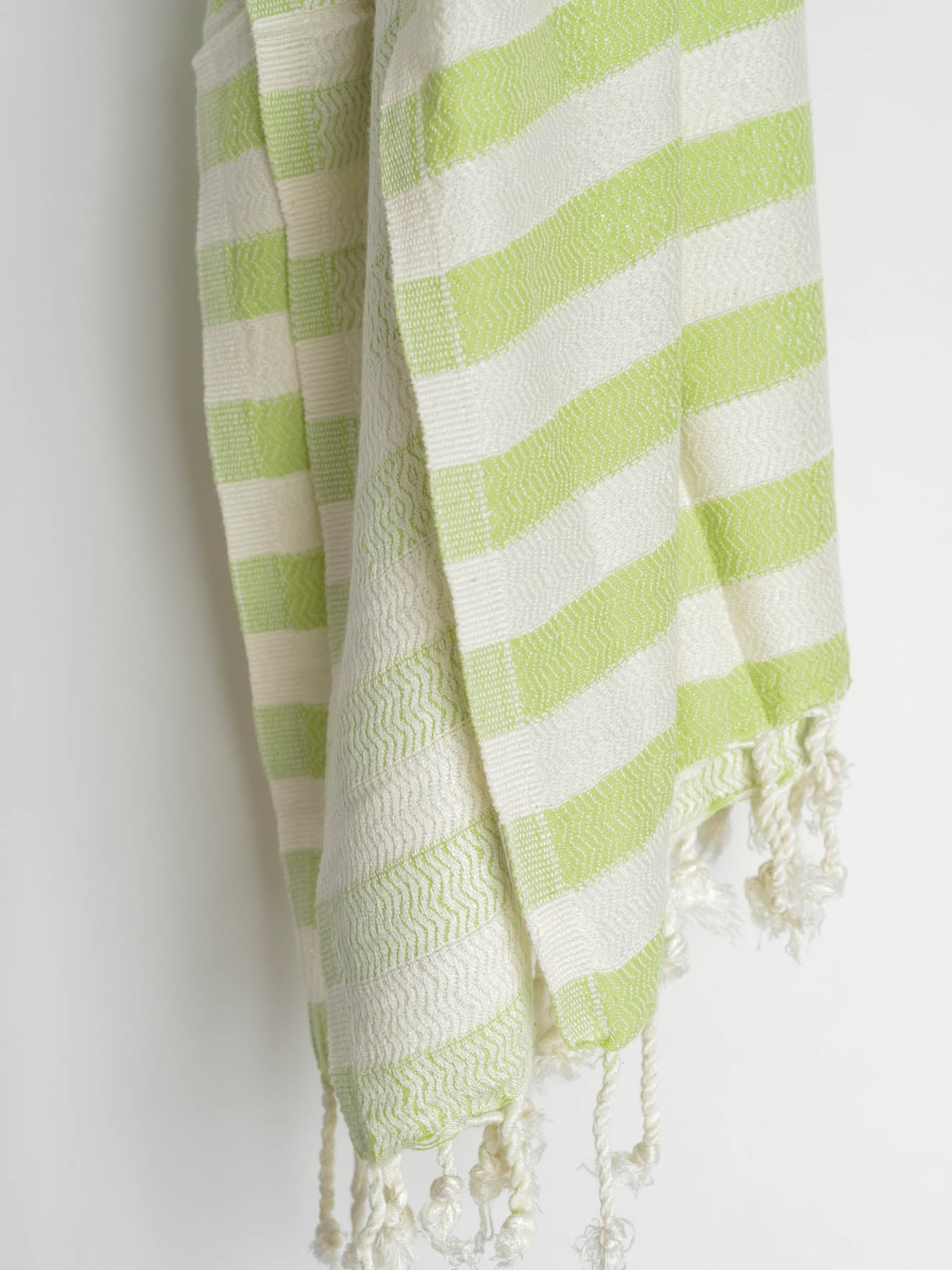 Lime green and white striped beach and bath Turkish towel in bamboo fabric