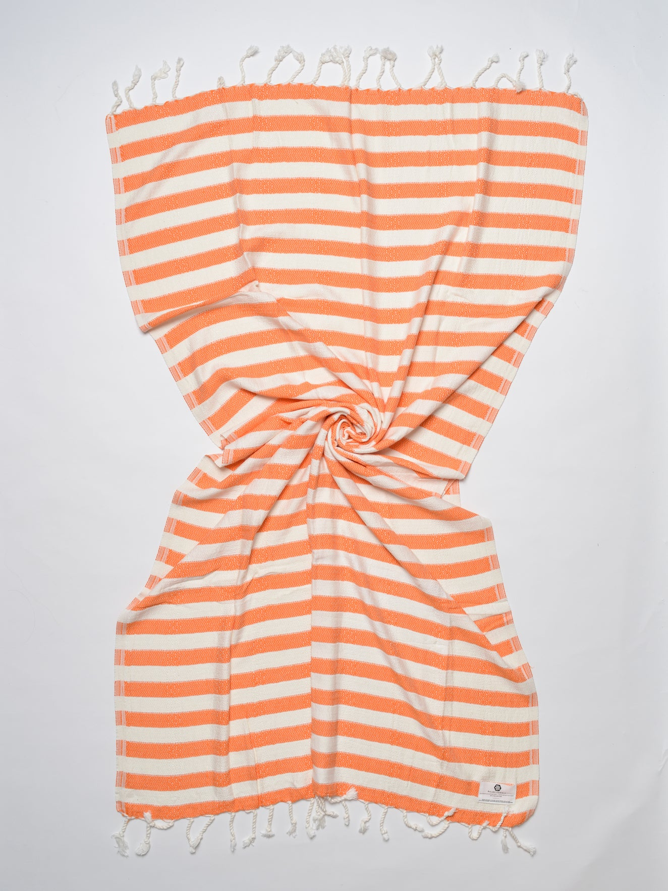 Orange and white striped beach and bath Turkish towel in bamboo fabric