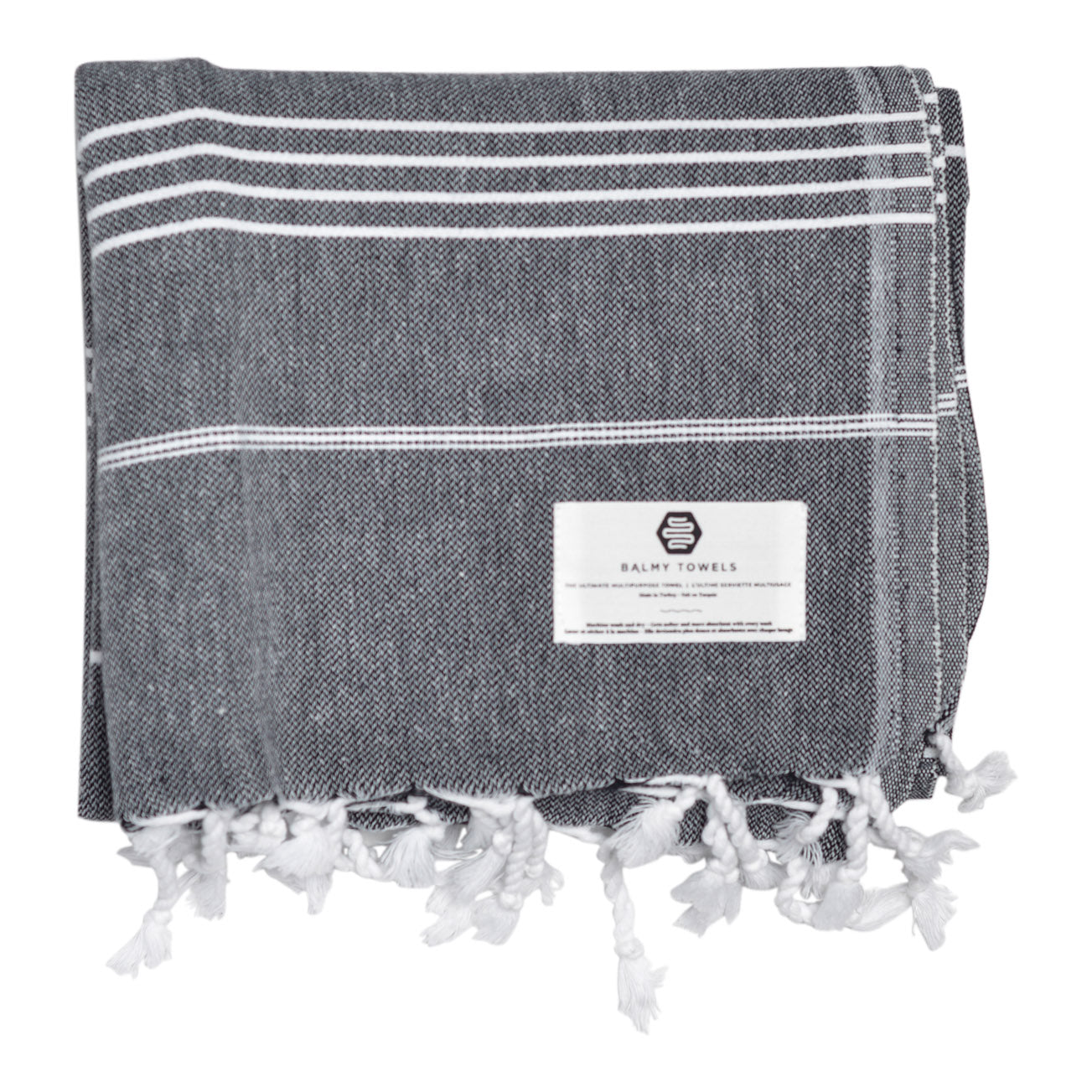 Black cotton beach and bath Turkish towel with different sizes of thin white stripes