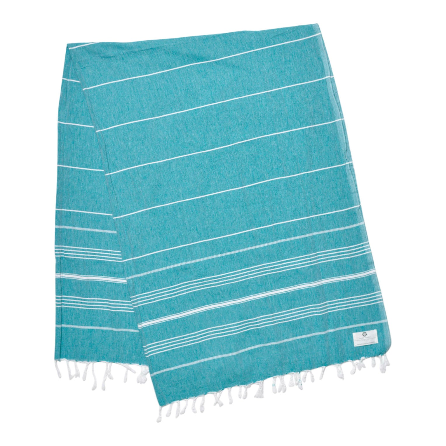 Oversized teal cotton beach and bath Turkish towel with different sizes of thin white stripes
