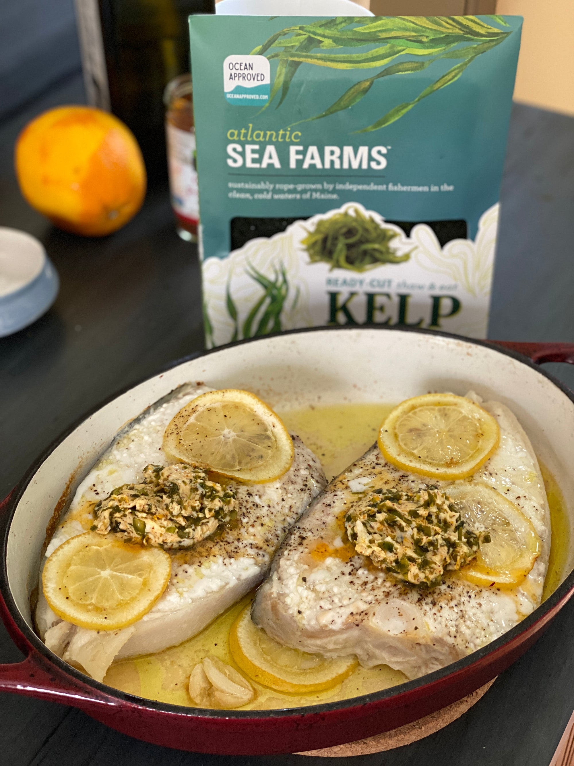 Halibut with Chili-Citrus-Kelp Butter Recipe by Mindy Fox