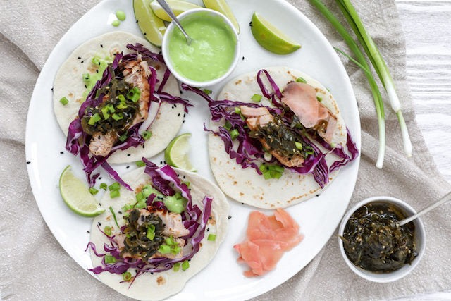 Seared Tuna Tacos with Fermented Seaweed Salad