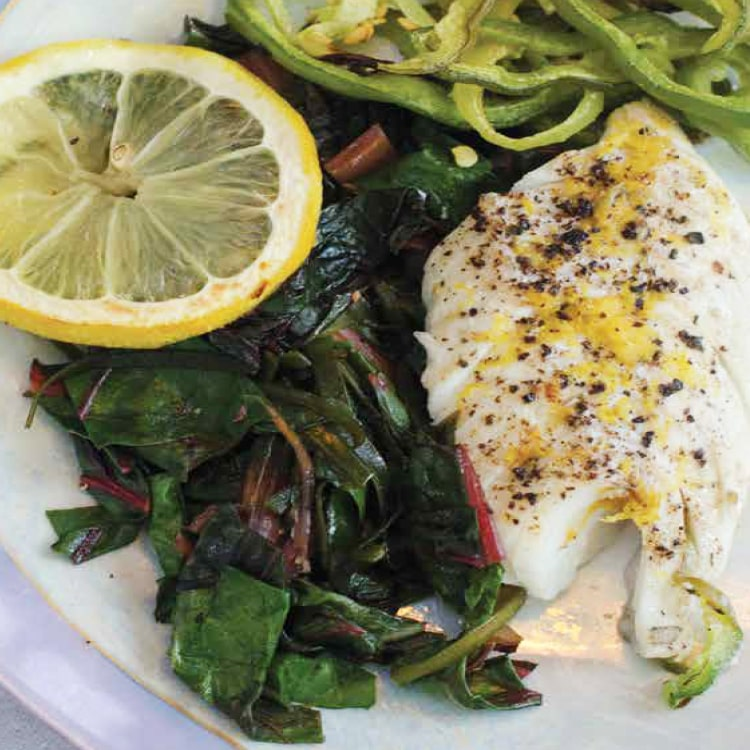 Baked Haddock with Wilted Greens