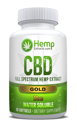 Gold 30ct Softgels | 10 Mg | Hemp Extracts | Nature Approved