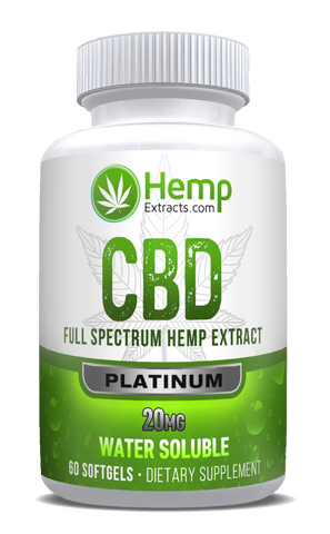 Platinum 60ct Softgels | 20 Mg | Hemp Extracts | Nature Approved