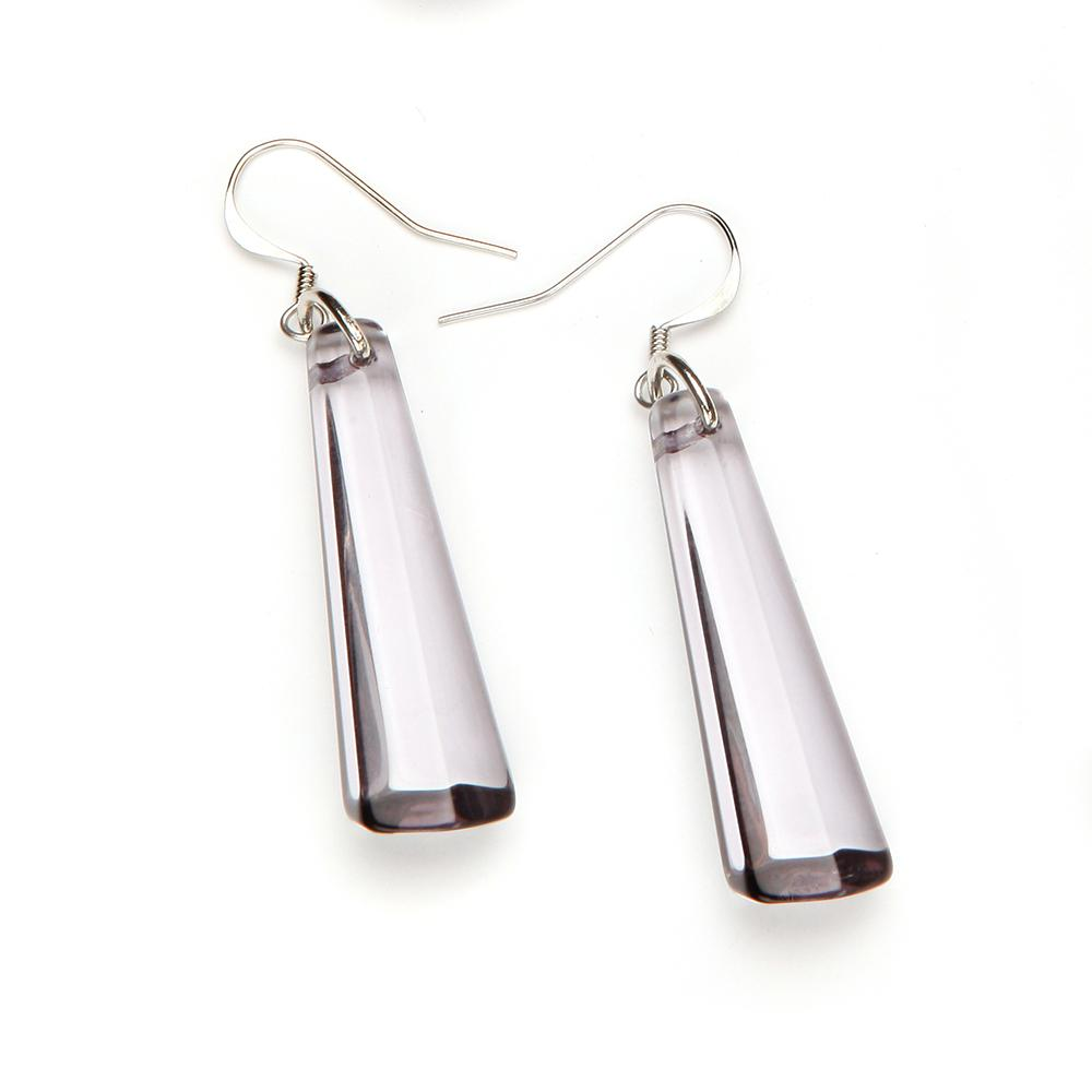 Crystal Drop Resin Earring - Small Smoke