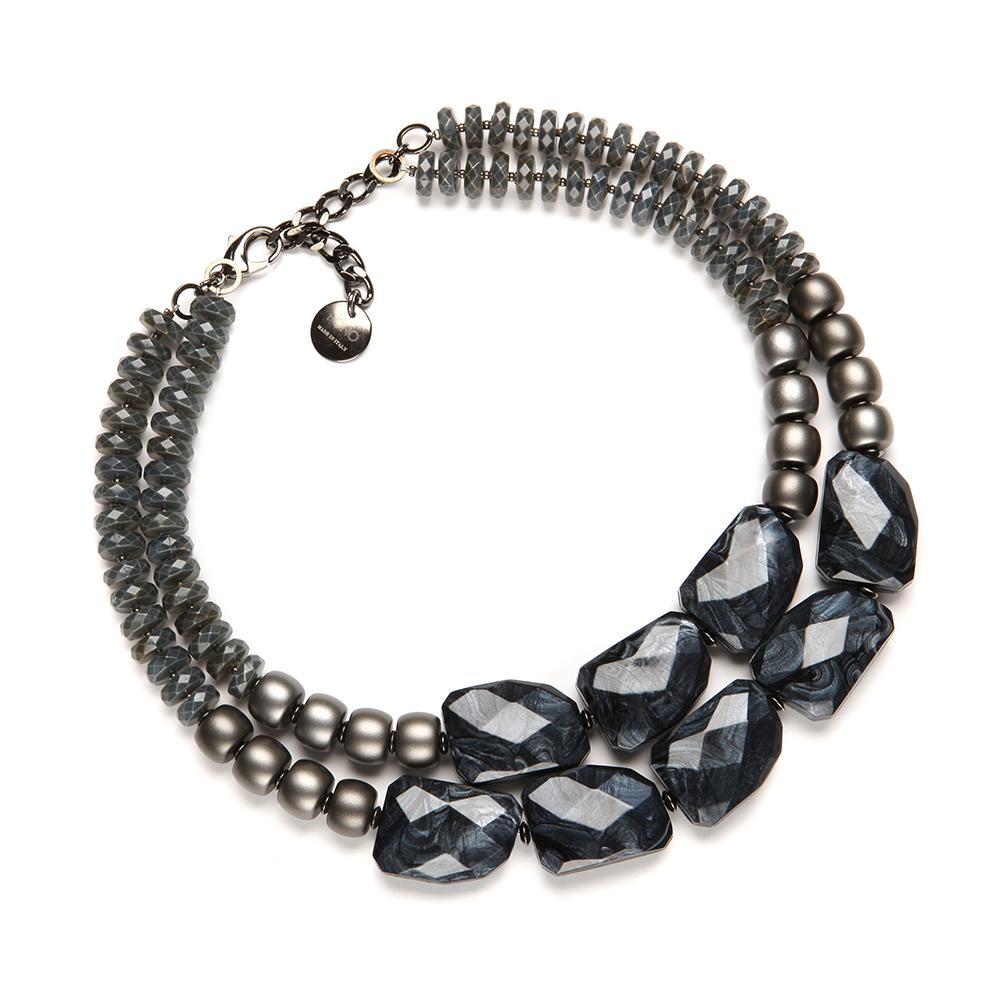 Franci Resin Necklace Gunmetal