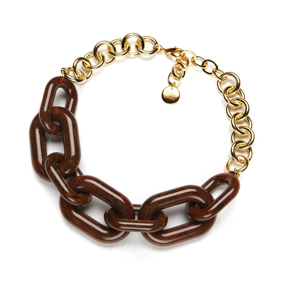 Margo Resin Necklace Walnut