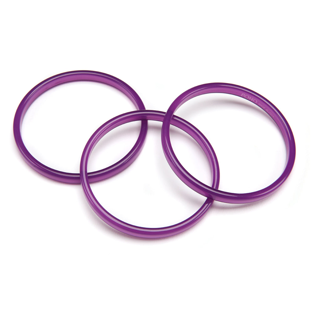 Twiggy Resin Bangle Set of 3 Violet