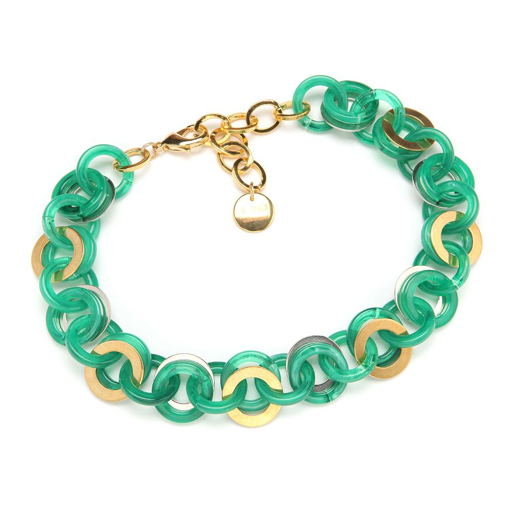 Mini Sea Chain Resin Necklace Emerald