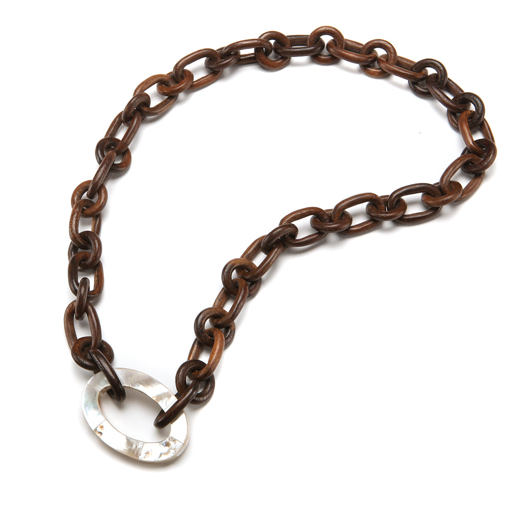 Fiji Wood Necklace Pearl