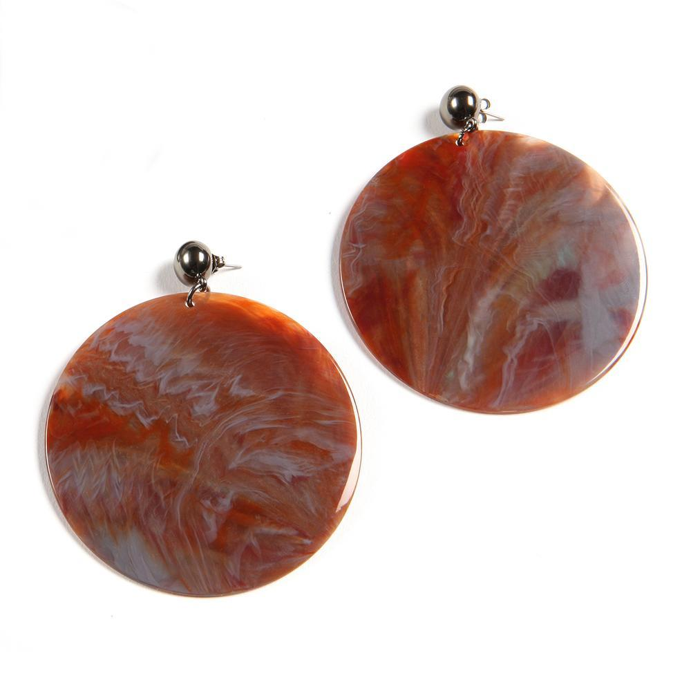 Full Moon Resin Earring Persimmon