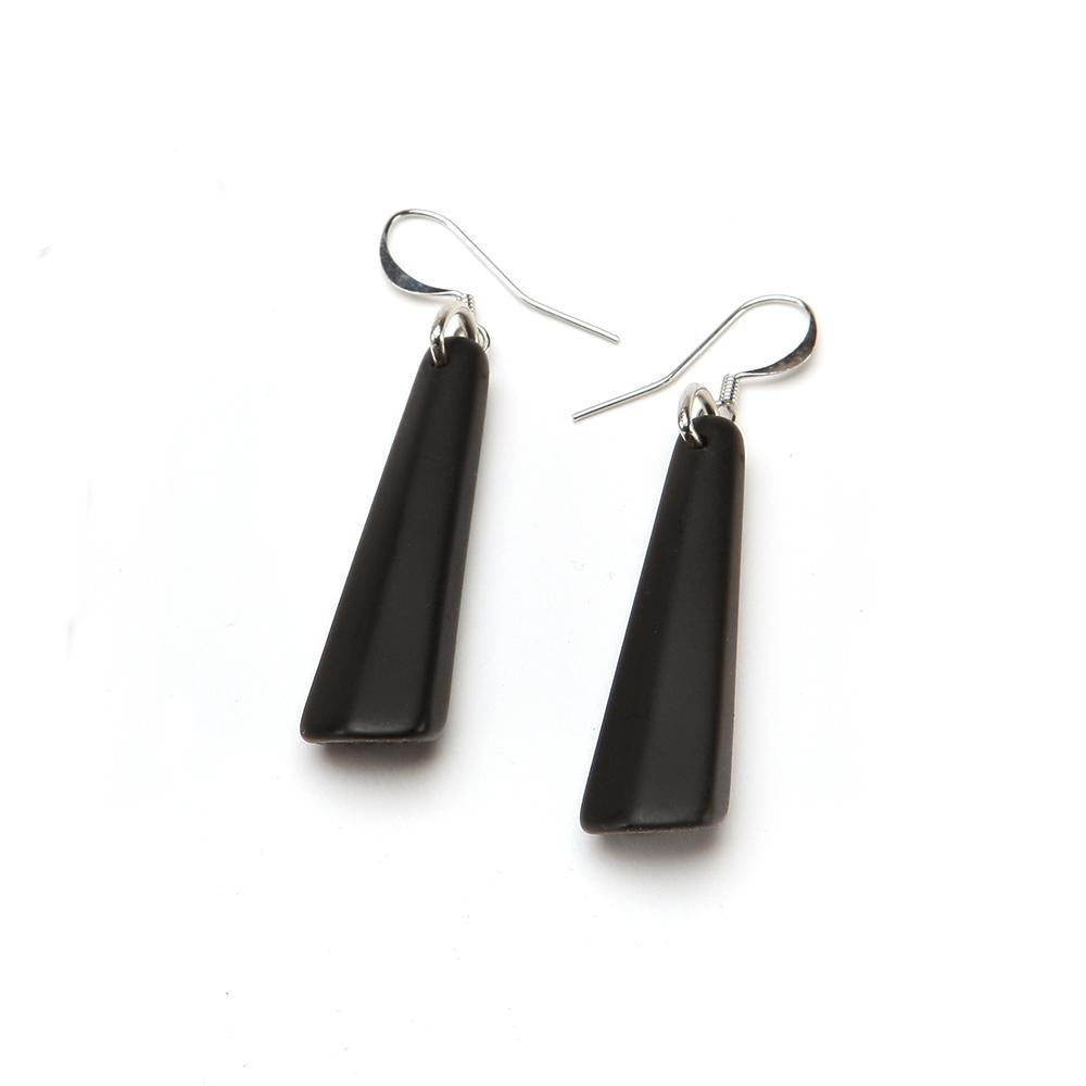 Matte Drop Resin Earring - Small Matte Black