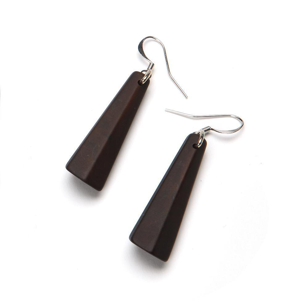 Matte Drop Resin Earring - Small Bark