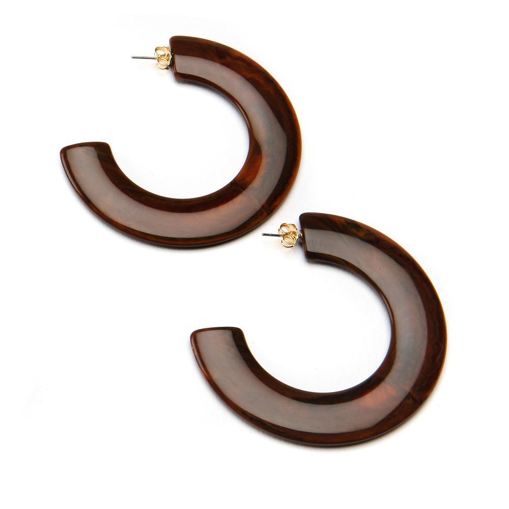 Not an Infinity Hoop Resin Earring Walnut