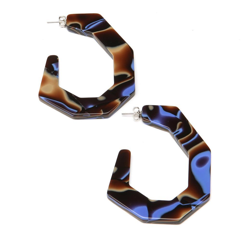 Sette Lati Hoop Resin Earring Earth