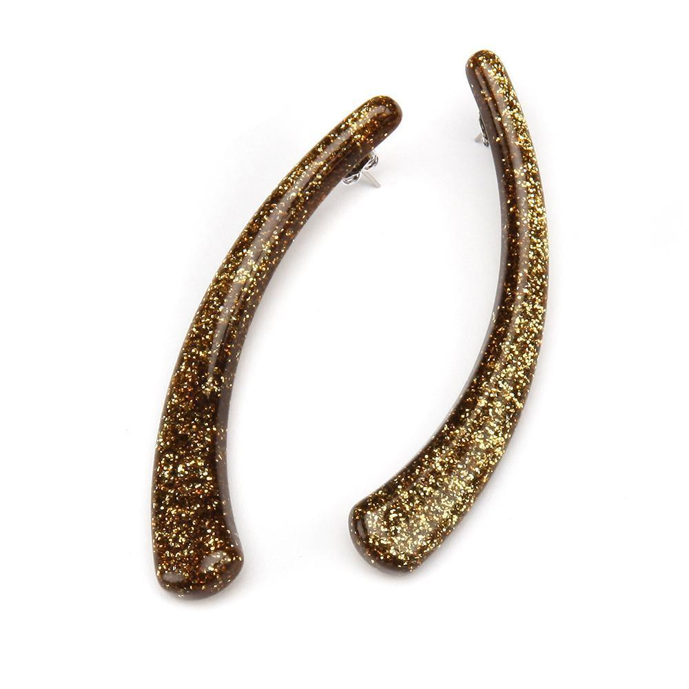 Sparkle Horn Resin Earring Gold