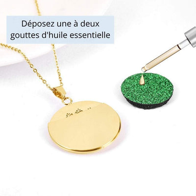 Collier huile essentielle or