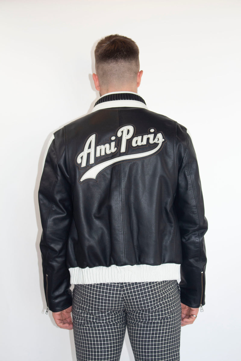 AMI BICOLOR ZIPPED JACKET WITH PATCH AMI PARIS ON THE BACK