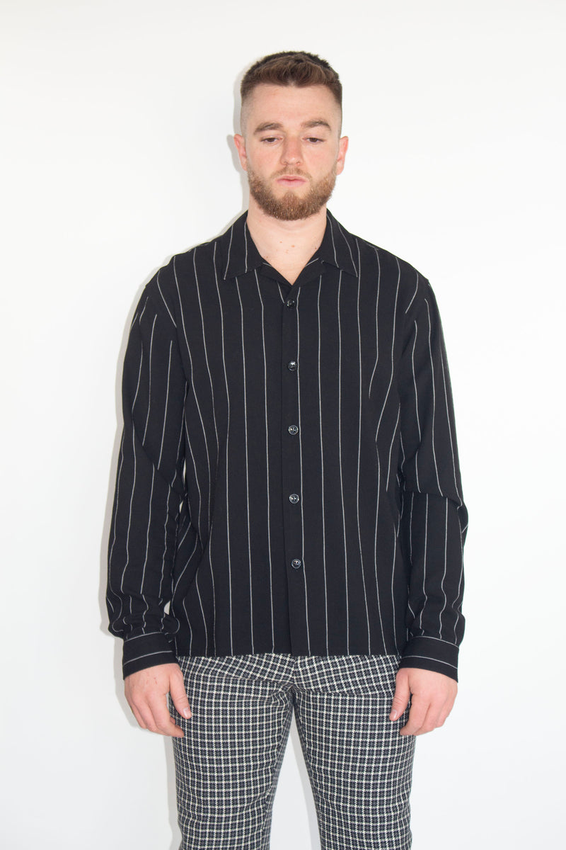 AMI Black Camp Collar Overshirt