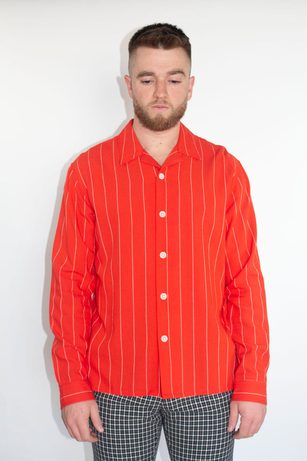 AMI Red Camp Collar Overshirt